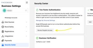 Tofaktorautentisering i Facebook Business Manager
